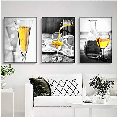 MENGX Lienzo de Pintura de Creatividad, póster de Copa de Vino Amarillo e Impresiones de Arte de Pared, decoración del hogar de la Sala de Estar 11.8'x 19.6' (30x50cm) sin Marco 3 Piezas