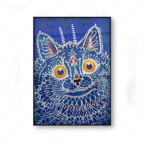 Poster Vintage Pintura De Gato Louis Wain ImpresióN De Lienzo Arte Abstracto Arte Ingenuo Arte De Pared GóTico Brut Gato Azul Cuadros De Arte Popular Decoracion del Hogar 30x40cm Sin Marco