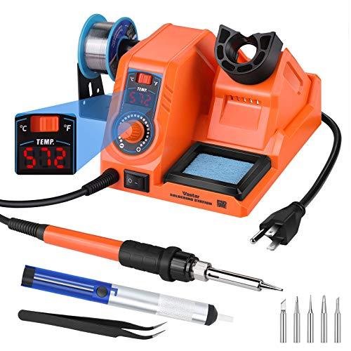 Vastar Soldering Iron Station Kit - 60W 392℉~896℉ Adjustable Temperature C/F Switch, Auto-Sleep Anti-Static Fast Heating Up, 5 Soldering Iron Tips, Wire, Desoldering Pump