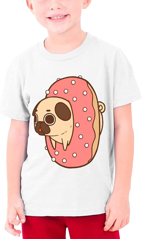 Kawaii Cute Donut Pug Dog Boys Girls Tshirts Short Sleeve Cotton T-Shirt Youth Tees Tops