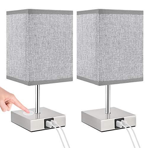 Lovebay 2 lámparas para mesita de noche táctil, intensidad regulable, color blanco cálido, lámpara de mesa moderna con 2 puertos USB, lámpara de noche retro para dormitorio (A Grey With Usb Plug)
