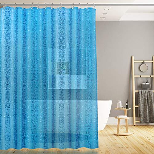 SPARIN [180x200cm Klar Duschvorhang, Eva wasserdichter Badvorhang Blau Kieselsteine, Anti-Schimmel