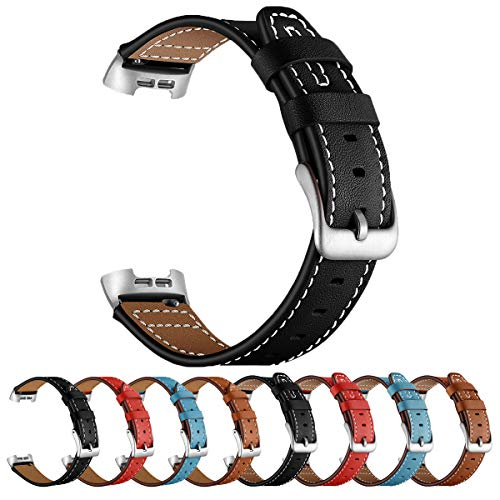 SEURE Leather Watch Band Compatible Fitbit Charge3/Charge 4 Replacement Band, Genuine Leather Quick Release Watch Band for Women Men 2 styles 4 colors Fitbit Charge3 Charge4 Bands(Type U/Black)