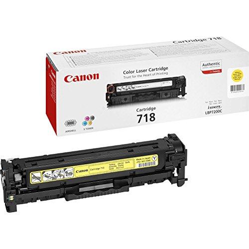 Canon cartucho 718 de tóner original amarillo para impresoras láser i-SENSYS LBP7200Cdn,7210Cdn,7660Cdn,7680Cx,MF8330Cdn,8350Cdn,8340Cdn,8360Cdn,8380Cdw,8540Cdn,8550Cdn,8580Cdw,724Cdw,728Cdw,729Cx