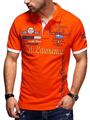 behype. Herren Kurzarm Polo-Shirt Bedruckt 20-0001 Orange XXL