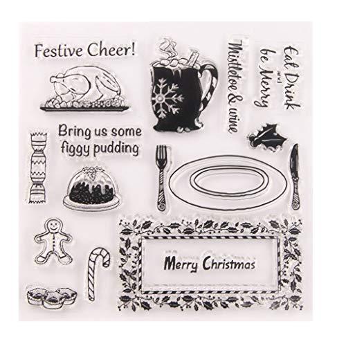 Chou Stempel-Set für Scrapbooking, Stempel, Silikon, für Kaffee, Weihnachten