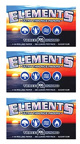 3 Packs of 300 Ultra Thin Elements 1.25 Rice Rolling Papers 300 Leaves Per Pack