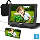 NAVISKAUTO 16' Portable DVD Player with Large Screen Free Carry Bag Rechargeable Battery Support HDMI Input, 1080P Video, Sync Screen, Last Memory, AV in & Out, Region Free, USB TF Card