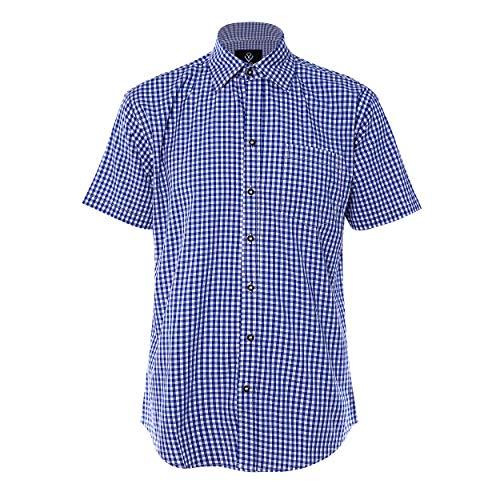Wika Sen Herren Kurzarm Hemden aus 100% Baumwolle Comfort Fit Freizeithemd Kariertes Männerhemd, Blue, XL