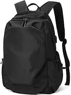 LAORENTOU Leather Backpacks for Men Women Vintage Laptop Bookbag for Men Backpack Purse for Women Bagpack Lightweight (Bla...