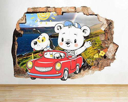Wandtattoo Teddy Dog Car Drive Kinderzimmer zerschlagen Wandtattoo 3D Kunst Aufkleber Vinyl Zimmer