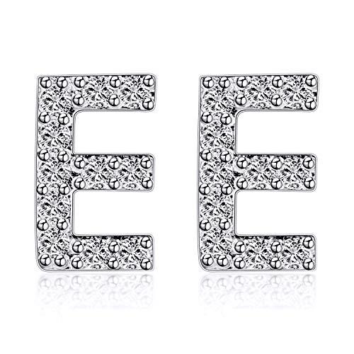 VQYSKO Plata de ley 925 Pendientes Iniciales-Nina Chica Mujer Letras Pequeño Circón Brillante Alfabeto Pendientes Regalos Creativos (con caja) (Argénteo - E)