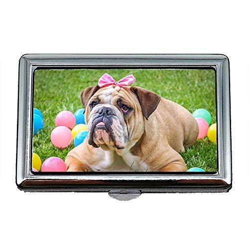 Zigarettenetui Box, Bulldogge niedlich Ostern Tier Hund Pet süß, Visitenkartenetui Visitenkartenetui Edelstahl