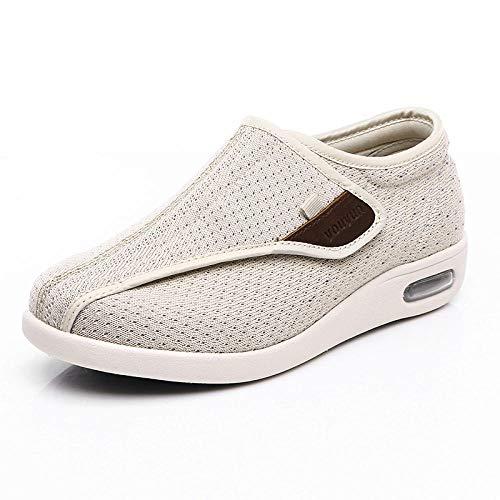 B/H Ajustable De Velcro Zapatillas OrtopéDica,Zapatos de pie diabético, Zapatos Ajustables de Pulgar Suelto valgus-Beige_38