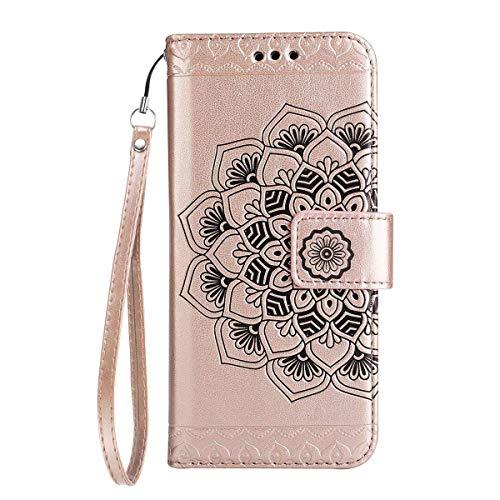 Coque Galaxy S6,Surakey Strap Rétro Henna Mandala Motif Cuir PU Portefeuille Flip Bookstyle Housse Étui Coque Wallet Coque Protection Étui pour Samsung Galaxy S6, Or Rose
