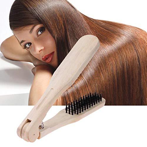 HYHY 1 Uds Peine de peluquería de Madera cepillos Dobles Tipo V Cepillo de Pelo Recto antiestático alisador de Pelo Herramienta de Bricolaje cepillos para el Cabello