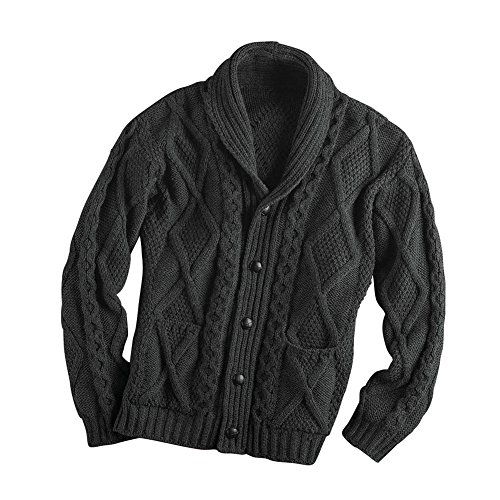 West End Knitwear Men's Aran Shawl Collar Cable Knit Cardigan Sweater - Charcoal - Medium