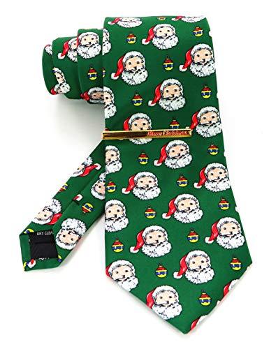 JEMYGINS Cravatta Uomo Verde, Babbo Natale in Seta Tema Natalizio(6)