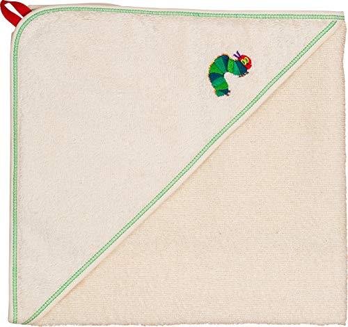 Smithy® Kapuzenhandtuch Baby, Kapuzenbadetuch für Mädchen und Junge mit der RAUPE NIMMERSATT, 100% BIO-Baumwolle, Größe 80 x 80 cm