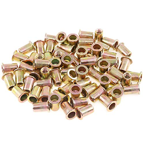 Boeray 50pcs #10-24 Zinc Plated Carbon Steel Flat Head Rivet Nut Threaded Insert Nut Rivnut