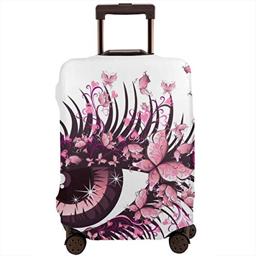 Travel Suitcase Protector,Female Eye with Butterflies Eyelashes Mascara Stare Makeup Party Celebration,Suitcase Cover Washable Luggage Cover XL
