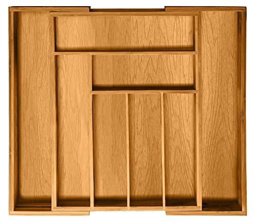 Expandable Kitchen Drawer Organizer - 8 Slots Bamboo Utensil Silverware...