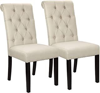 Homegear Parsons Style Tufted Upholstered Large Dining Side Chairs, Set of 2 Tan