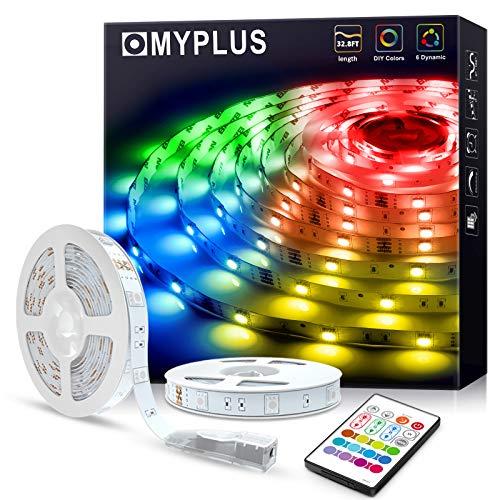 MYPLUS Tiras LED RGB de 10 m con mando a distancia IR y fuente de alimentación de 12 V, cambio de color SMD 5050, para casa, dormitorio, TV, techo, decoración de armario