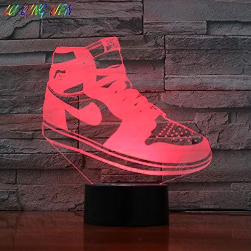 Zapatilla AJ Jordan Air Force Lámpara de mesa Zapatos de baloncesto Michael Jordan Dormitorio DecorBoy Niños Regalo Luz de noche 3D