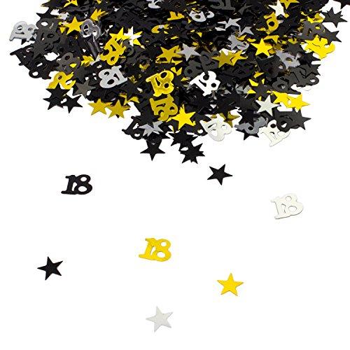 Oblique-Unique® 18. Geburtstag Jubiläum Konfetti Gold Silber Schwarz Sterne Tisch Deko 500 Stück