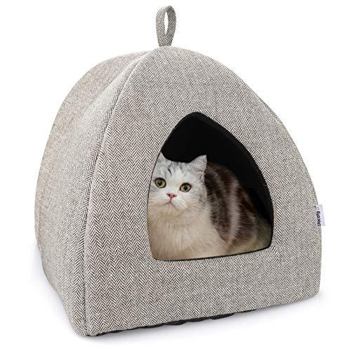 Docatgo Katzenhöhle Katzenbett mit Super Weichem Flauschigem Sherpa Innerkissen (Abwaschbar) L35cm x B35cm x H40cm - Katzenzelt Katzenkorb zum Schlafen für Kleine bis Mittlere Größe Katzen