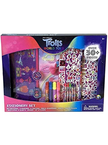 Trolls World Tour Kids Stationary Set w/Stickers, Pencil Case, Erasers - 30 Pcs.