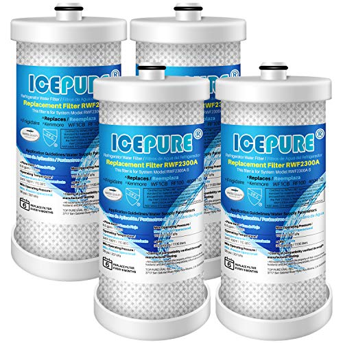 ICEPURE WF1CB Refrigerator Water Filter Replacement for Frigidaire PureSource WFCB, WF1CB, RG100, NGRG2000, WF284, 9910, 469906, 469910, Pack of 4