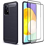 GDTOGRT for Samsung Galaxy A72 Case, with 2Pack Tempered Glass Screen Protector, Flexible TPU Rubber Shockproof Protective Non-Slip Case Cover for Samsung Galaxy A72 5G -Blue