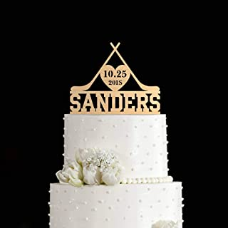 Cheyan Chic Wedding Cake Topper Hockey Wedding Hockey Hockey Lover Name Personalized Cake Topper for Wedding Decoration