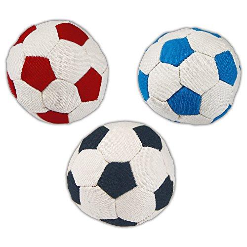 Schecker 3 Stück Stoffbälle Stoffball - Leichter, weicher, mit Baumwollstoff bezogener Fußball mit hygienischer Watte-Füllung.