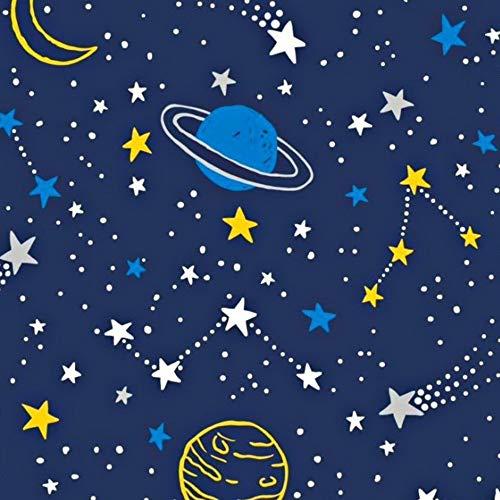 Pingianer - Tela de algodón con lunas para niños, 100 % algodón, por metros, artesanía, tela de costura, algodón, Planetas azules amarillos., 100x160cm (11,99€/m)