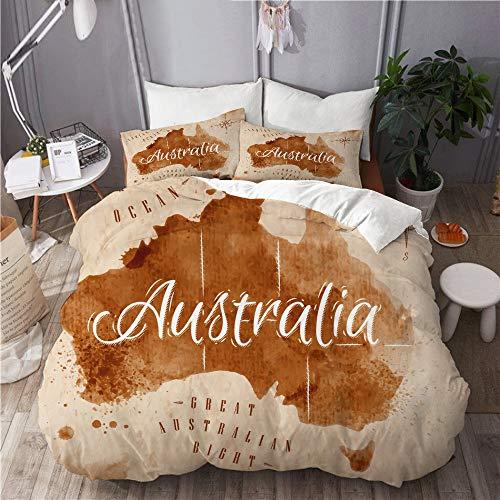 MIGAGA Bettwäsche-Set,Karte Australien Alten Stil braune Grafiken,Dekoratives 3-teiliges Bettwäscheset mit 2 Kissenbezügen,Einzelgröße(135 x 200cm)
