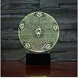7 tipos de cambio de color luz fantasma 3D luz nocturna de fútbol lámpara de mesa 3D lámpara de mesa lámpara de futbolín, utilizada para fan S regalo 3D
