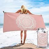Quick Dry Beach Towel,White Flower Mandala On Rose Gold Travel...