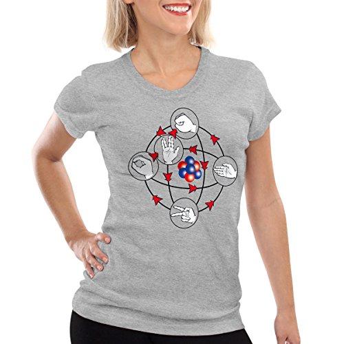 CottonCloud Piedra Papel Tijera Lagarto Spock Camiseta para Mujer T-Shirt Sheldon, Color:Gris Brezo, Talla:S