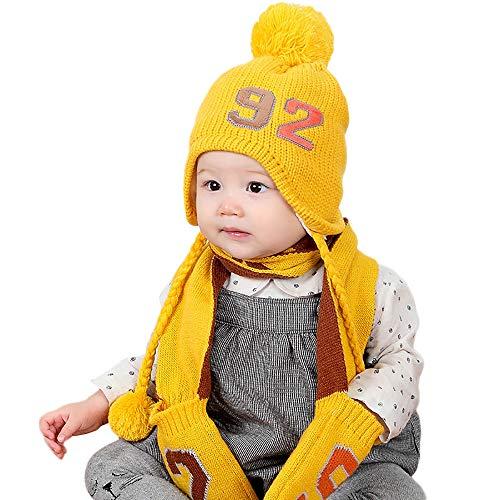Bigood Cagoule Enfant Tricot Bonnet avec Oreilles Cache Oreilles Calotte Automne Hiver Mignon