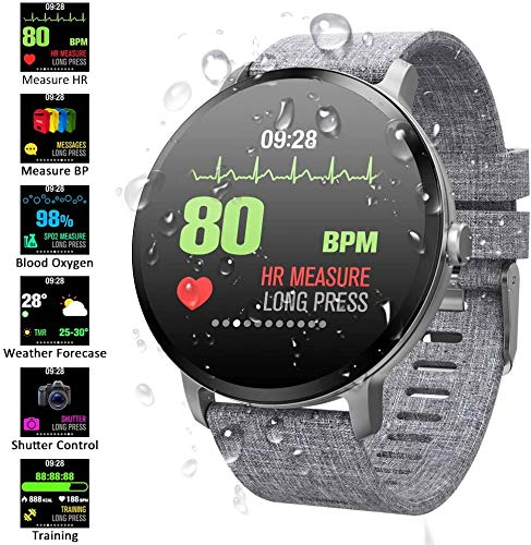Smart Watch voor Android- en iOS-telefoon IP67 Waterdicht, Fitness Tracker-horloge met hartslagmeter Step Sleep Tracker, Smartwatch Compatibel met iPhone Samsung, Horloge voor heren Dames,Gray