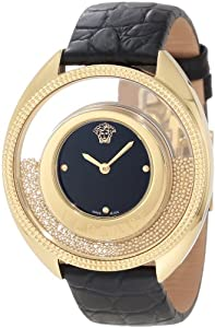 Versace Women's 86Q70D008 S009 'Destiny Spirit' Gold-Plated Watch with Leather Band Sale and For Your and review image