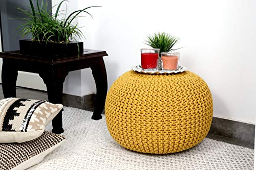 Frenish Décor Hand Knitted Cotton Ottoman Pouf Footrest 20x20x14 INCH, Living Room Accent seat (Yellow)