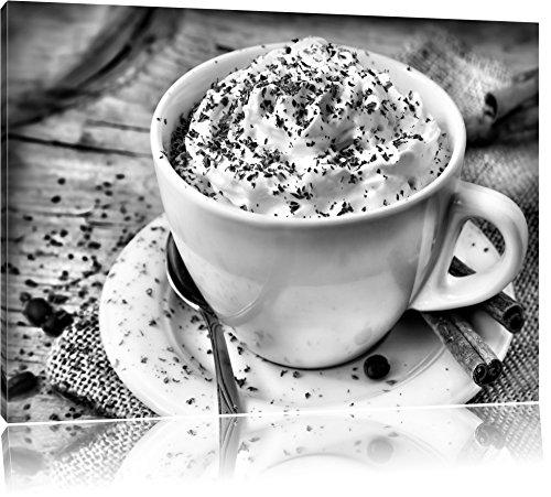 Koffie met veel slagroomFoto Canvas | Maat: 120x80 cm | Wanddecoraties | Kunstdruk | Volledig gemonteerd