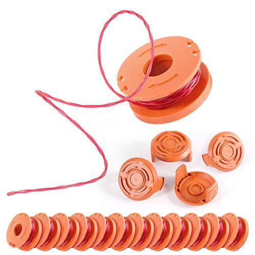 Joycabin Bobina de repuesto de 12 piezas y 4 tapas de bobina, cortabordes de césped, accesorios para cortacésped, línea de bobina de 3 m x 1,65 mm, compatible con Worx WG150 WG160 WG170