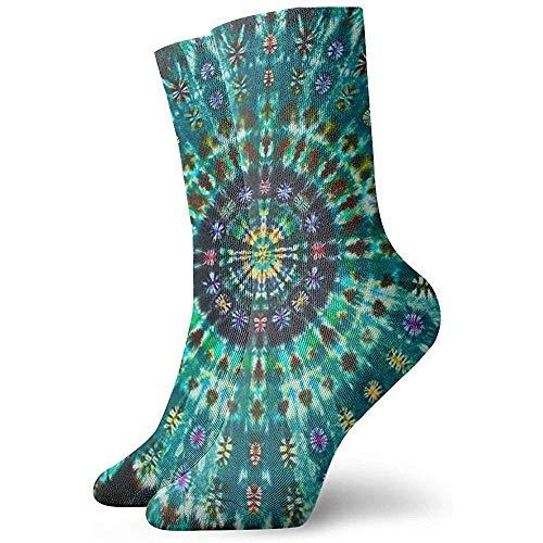 NA mannen en vrouwen spiraal Tie Dye Mandala Green Art gedrukt grappige nieuwe casual sokken