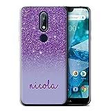 Personnalisé Coque pour Nokia 7 2018 (7.1) Effet Paillettes Coutume Violet Désign Transparent Doux...
