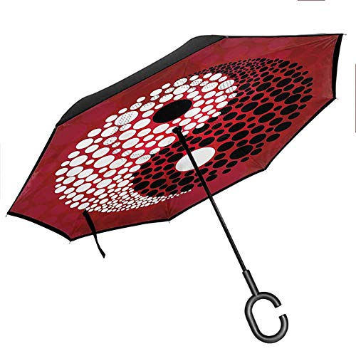 Ying Yang Decor Double Layer Inverted Umbrella with C-Shaped Handle, Anti-UV Waterproof Windproof Straight Umbrella for Car Rain Outdoor Use Burgundy